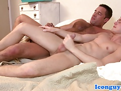 Horny hunk worships twinks tight ass