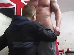 Muscle man fucks little robber