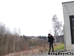 Euro twink amateur barebacked outdoors
