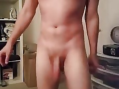 Dancing naked flopping my cock