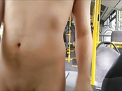 young boy naked on a public bus