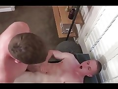 Muscled blonde guy fucked hard