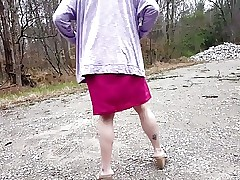 Crossdressing in Public Park (Heels and Dress)