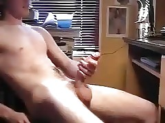 Young Twink Wanking Curved Cock