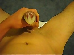 Condom jerkoff and cum