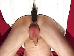 Twink being used by fucking machine till cums on himself