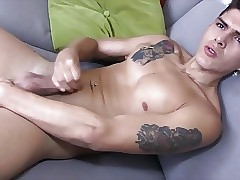 Horny Latino Boy Cums on his Sexy Body