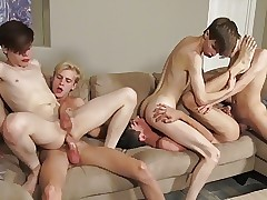 Twink Quintet With Big Cocks Have Raw Sex