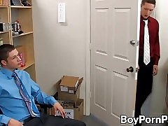 Ryan slides his long hard cock into his hot coworker Wesley