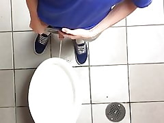 Nicely circumcised teen pees clear