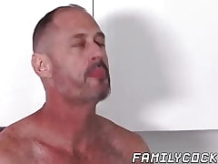 Blowjob and throat fucking with older daddy and stepson