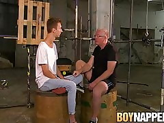 Skinny twink Jay McDally tormented with blowjob in bondage