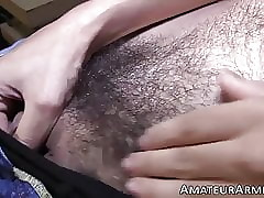 Horny amateur stud solo masturbates his huge hairy dick
