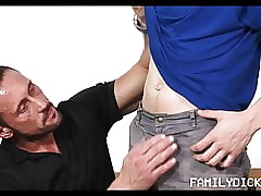 Hunk Stepdad Sex With Stepson In Garage After Helping HIm