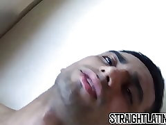 Straight Latin dude gets dick in ass and cum on face POV