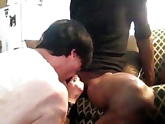 Sissy sucks off light skinned big cock str8 guy.