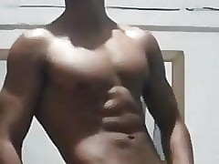 muscled handsome sexy asian guy playing