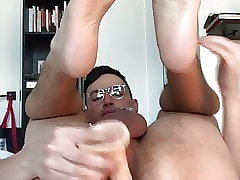 Locked chastity amateur exposed gaping his ass with a dildo