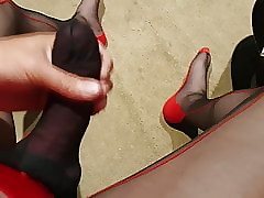 Cum all over nylons. Part 3. Shooting my load.