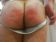 Cream on buttocks and more sound spanking