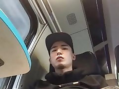 young pierced Asian gets bored in train (34'')