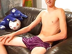 Guys in Adidas satin nylon shiny purple short