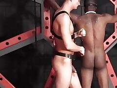 Bound black jock whipped and anal fucked by dominant guy