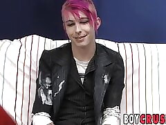 Girly twink Jay Donohue jerks off after getting interviewed