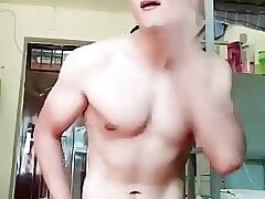 handsome chinese twink with nice dick slapping his face (36)