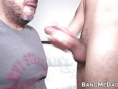 Interviewed young Latino barebacks fat mature man on camera