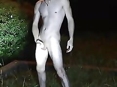 Jerk off naked with motorcycle helmet at night