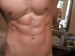 Hung and Muscular Teen wanks and cum