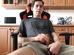 wanking and cumming in the kitchen