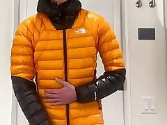 Teen shoots huge load in puffy jacket