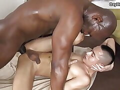 Black daddy fucks twink. Big black cock in tight ass