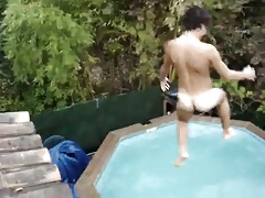 5 guys do a nude jump from roof to pool