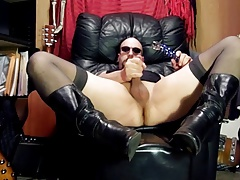 CD in Stockings & Boots,Glass dildo ass fucking