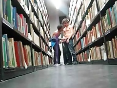 boys cumming in the library