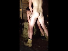 Tall Redneck Thug Breeds His Little Bitch In Barn