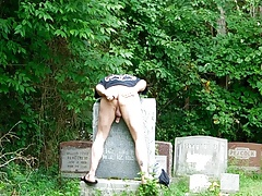 Jerking, Ass play, outdoors, public Cemetery PT.1