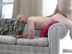 Gay sissy Mike Karacson receives anal bareback shaved smooth