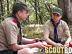 Two uniformed twink scouts fuck outdoors by campfire