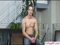 Muscled college guy stripping gay porno