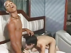 Two Tiny Interracial Twinks Fuck
